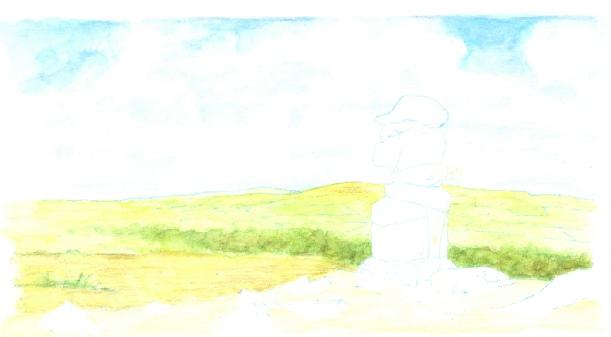Softened watercolour pencil wash