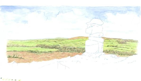 Dry watercolour pencil landscape