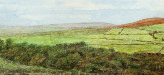 Close up detail of landscape drawing - left