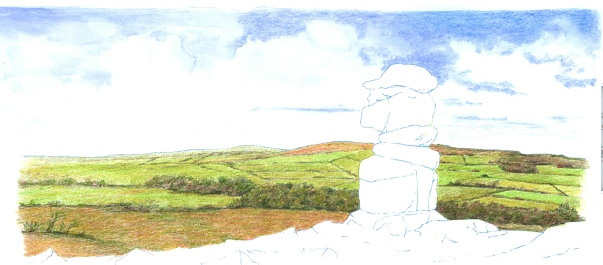 Mositened watercolour pencil landscape