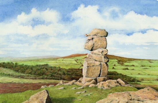 Drawing of the Bowerman Stone, Dartmoor, UK